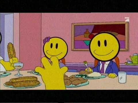 Constant happiness - the ultimate goal in life?  [Pictured: a scene from the Simpsons with two characters at the dinner table, big round smiley faces over their actual faces.]