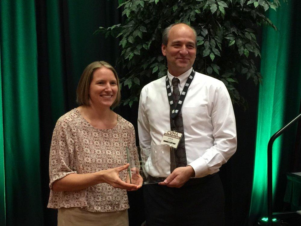 CVMA President Dr. Erin Epperly and Representative Steve Lebsock at the 2015 CVMA Conference