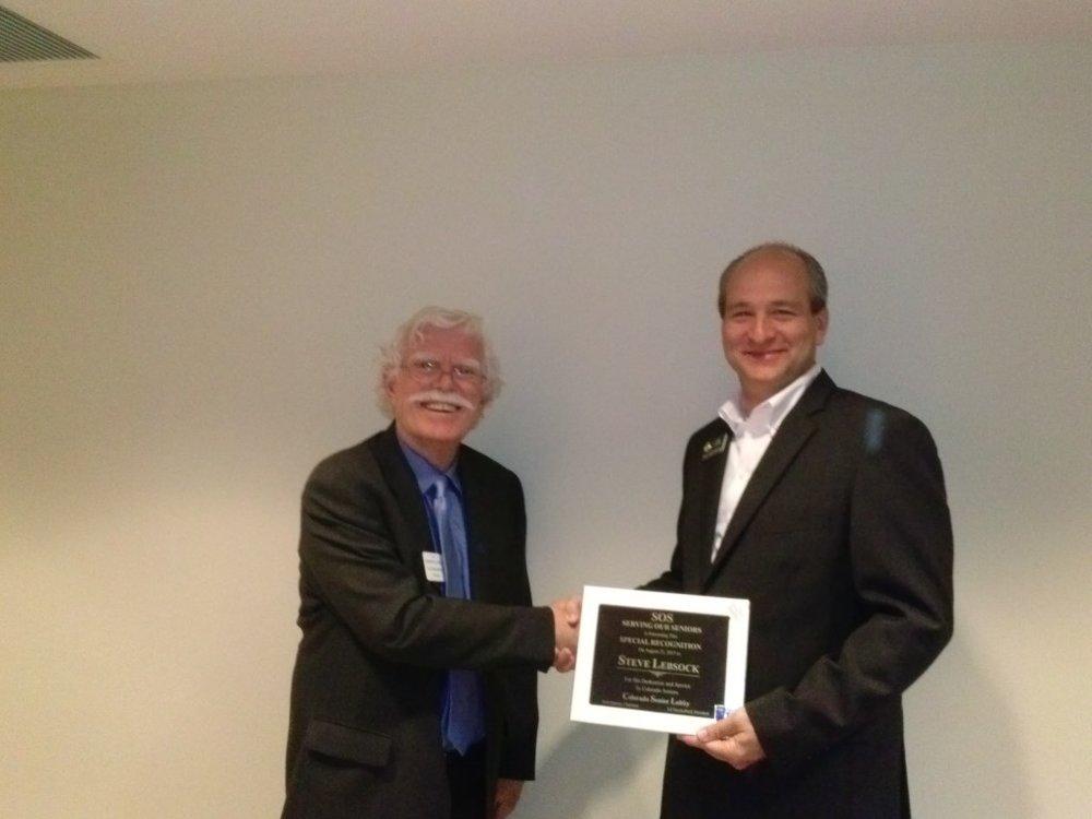 Senior Lobby President Ed Shackelford and Representative Steve Lebsock at the Senior Lobby Awards