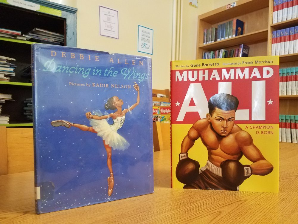 These are the books I read to the Students: Dancing in the Wings (Debbie Allen), Muhammad Ali, A Champion is Born