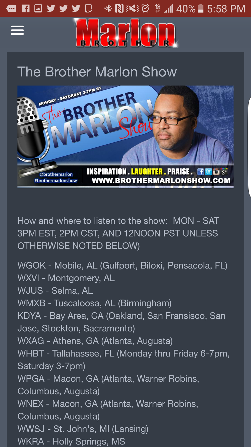 Brother Marlon Show Page: Listen Live, get info on the show, where to listen, etc.