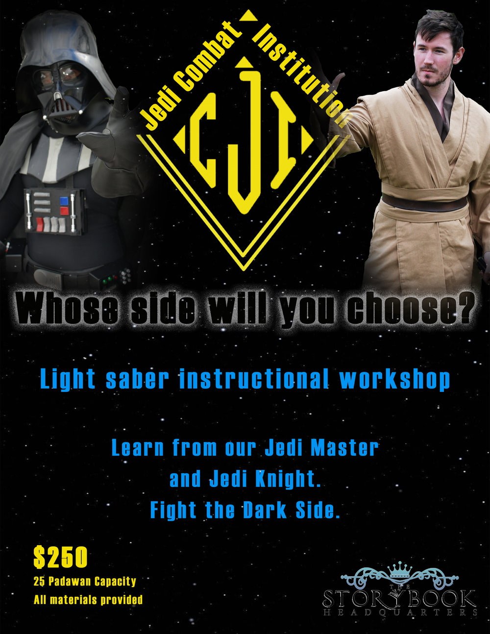 The Jedi Combat Institution and its Jedi Master invite all young Padawan to our light saber training course!  Whose side will you choose as you learn the ways of the force?  All Padawan will be faced by the dark side during this thrilling workshop.  This course has a 25 Padawan capactiy.  This workshop fills a one hour time slot.  If time permits, children will be invited to a meet and greet with the princesses with autographs and pictures.  **Prices may vary if booking for a private party.