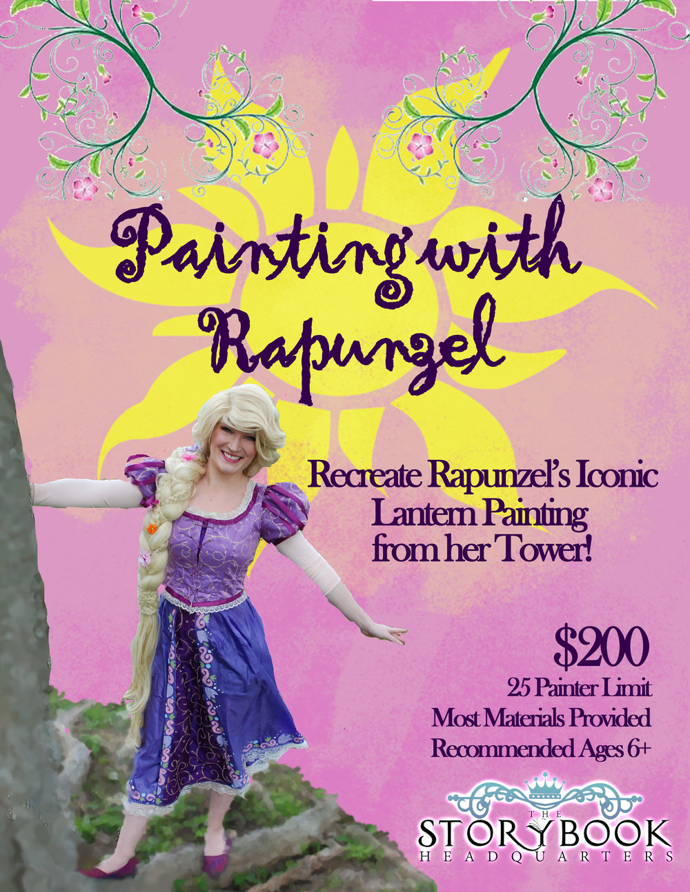 Join Rapunzel as she teaches you how to paint her iconic lantern picture she created for her tower!  Due to the nature of the workshop, it is recommended for ages 6 and up.  We provide the paint, brushes, canvases, water cups, and pallets.  A 5 Minute Storytime is also included in the middle of the workshop while waiting on paint to dry!  This workshop fills a one hour and fifteen minute time slot.  **Prices may vary if booking for a private party.