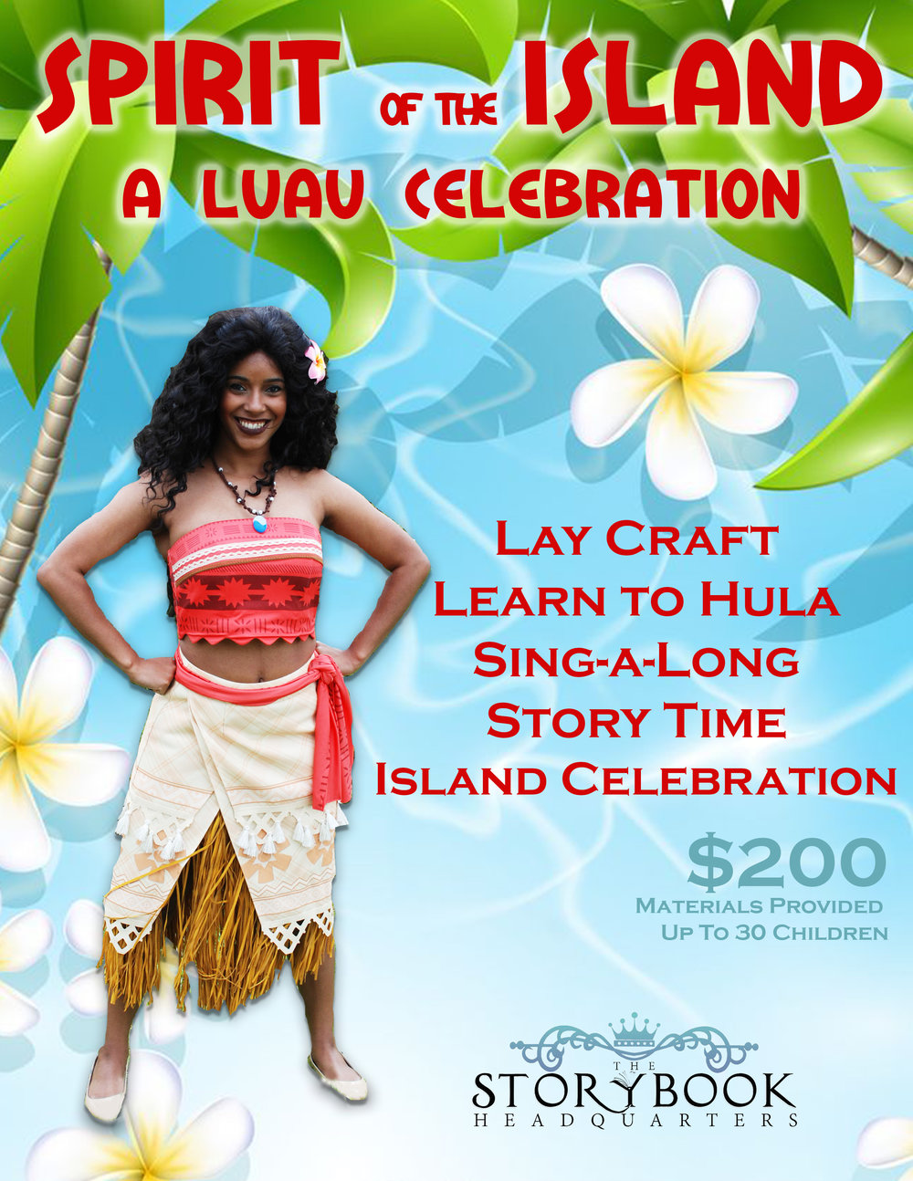 New for 2018! - Join our Pacific Island Princess as she brings the Spirit of the Island to you!  Children will make their own flower lays to wear for a special hula dance, sing-a-long, and storytime.  The workshop ends with an Island Celebration, where the children will participate in a fun Island ritual and learn how to embody the true Spirit of the Island!This workshop fills a one hour time slot.  If time permits, children will be invited to a meet and greet with our Pacific Island Princess with autographs and pictures.**Prices may vary if booking for a private party.