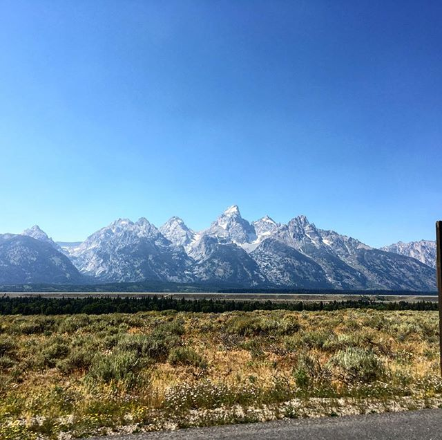 Checking out the Teton's on the way to climbing and camping at Wild Iris. #gooutside