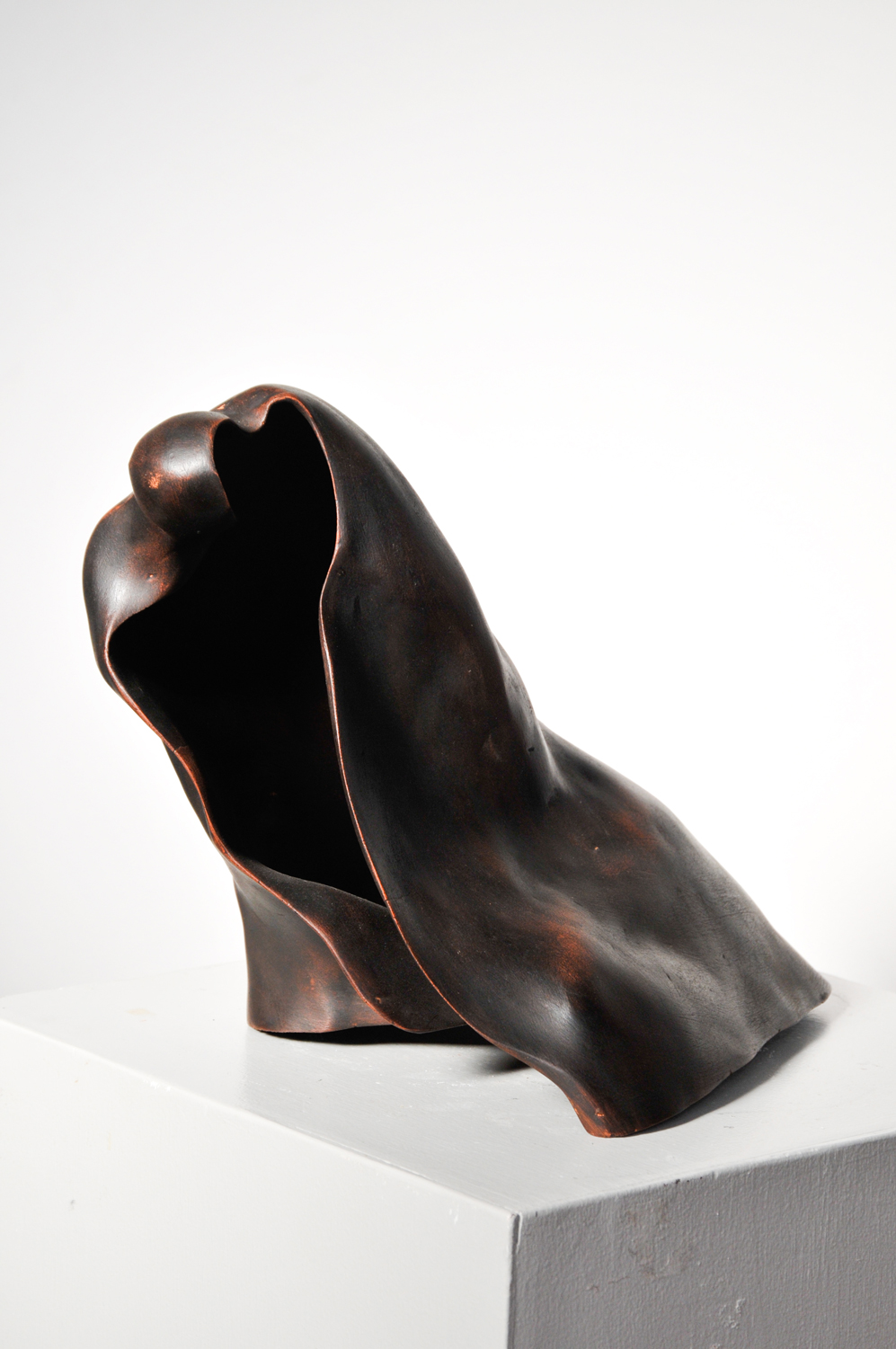 Bihind the Chador  20.22.25 cm    Bronze     She hides a history, a context, a song that dies before it is sung.