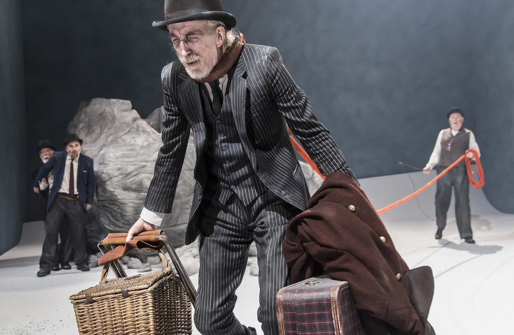 Waiting For Godot      by Samuel Beckett   Crucible Theatre, Sheffield   Directed by Charlotte Gwinner Designed by Simon Daw Sound by Max Pappenheim