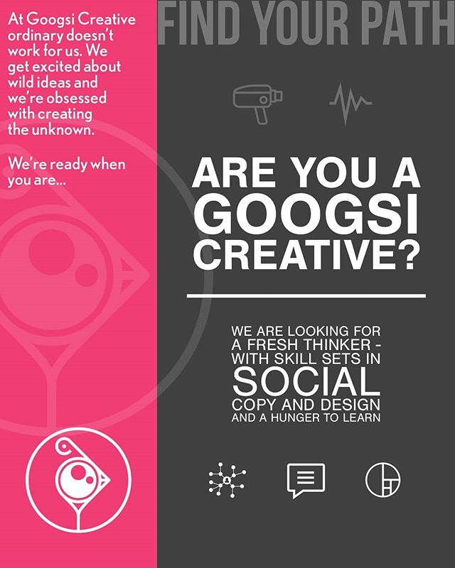 Are you a Googsi Creative? We are looking to welcome a new member to our team, to compliment our storytelling through film, photography and music. Get in touch for a chat if your skills and interests lie in social, copy and design. You do not have to be a full blown wizard but must possess a hunger to learn and a pure love for creativity. #googsicreative #findyourpath  #freethinkers #newbegginings