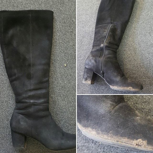 Before and after pictures of one of the office staff's suede boots that needed some serious TLC 😮 we brushed, WetCleaned and treated them! We are really happy with the results 🤗 #suede #blackboots #tlc