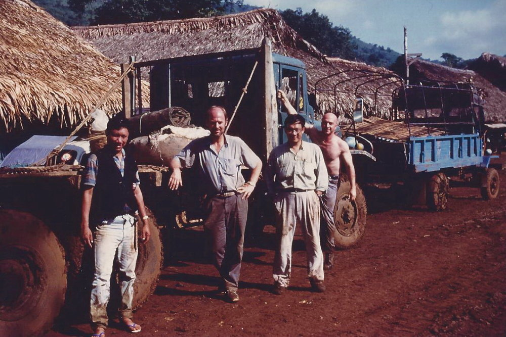 Mark Smith (second from left) in Hpakant, Burma 1996 (Photo Credit: Richard Hughes)