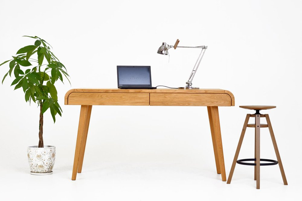 Solid Oak computer desk with drawers. Solid oak modern mid century design office furniture