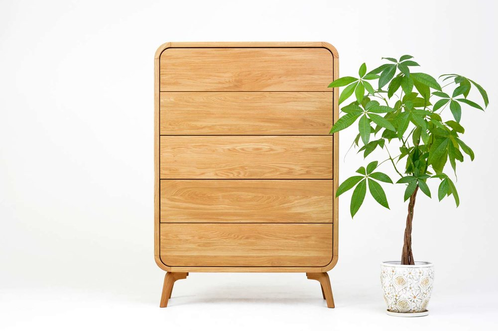 high dresser. 5 drawers dresser in solid oak. modern midcentury bedroom furniture