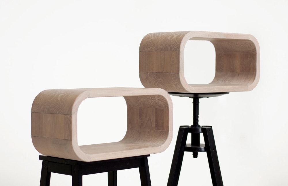 whitened oak round solid oak shelves.modern mid century design