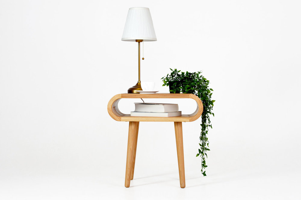 side table in solid oak. modern mid century design side table