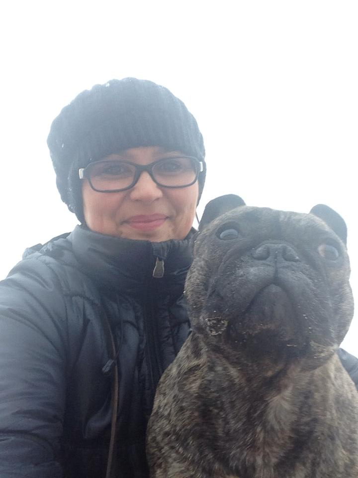 Ólöf Elíasdóttir Founder and Hotel Manager at Hotel Berg with her bulldog Fríða