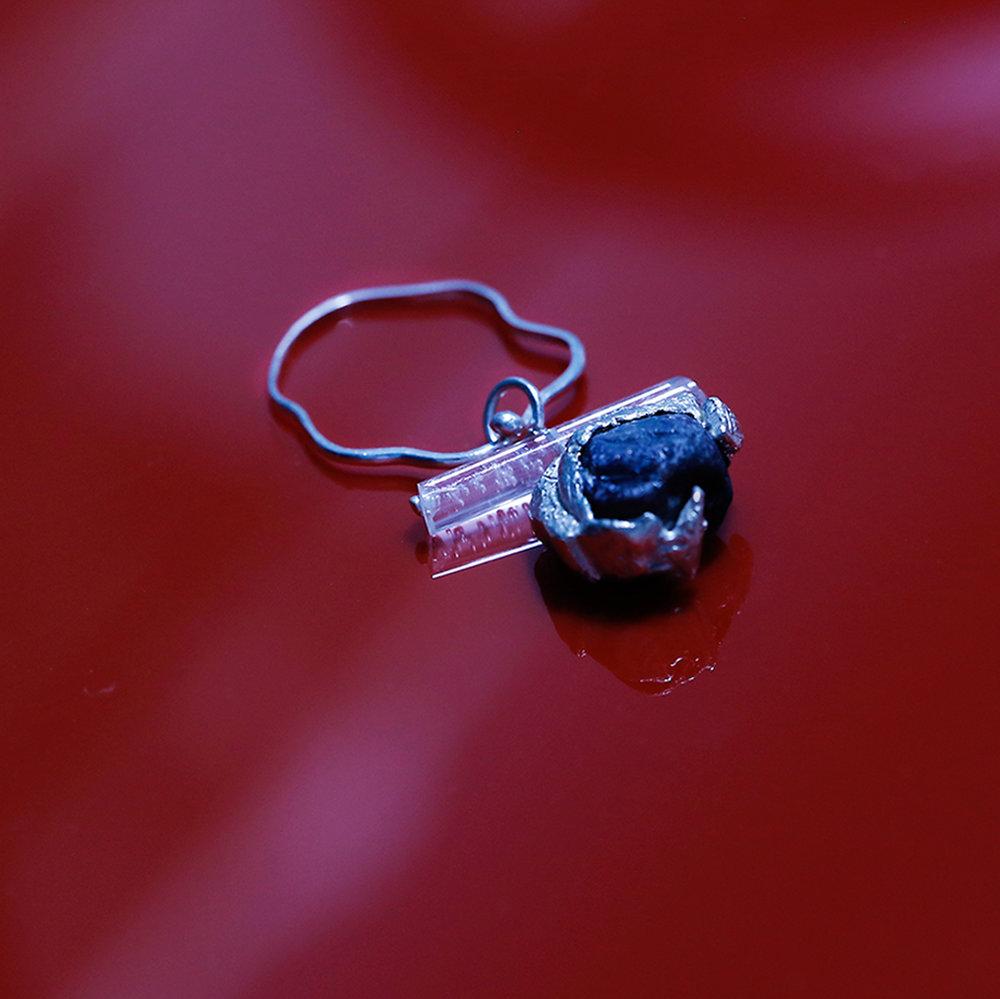 Alix Pendant | Fine silver, acrylic rod and sapphire.
