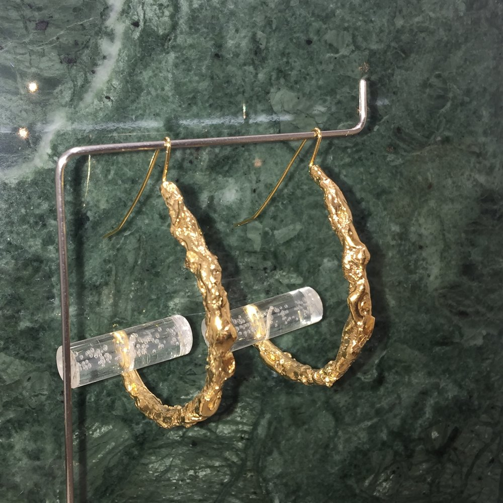 Katerina Gloop Hoop | 18kt gold plated brass with acrylic bubble rod.
