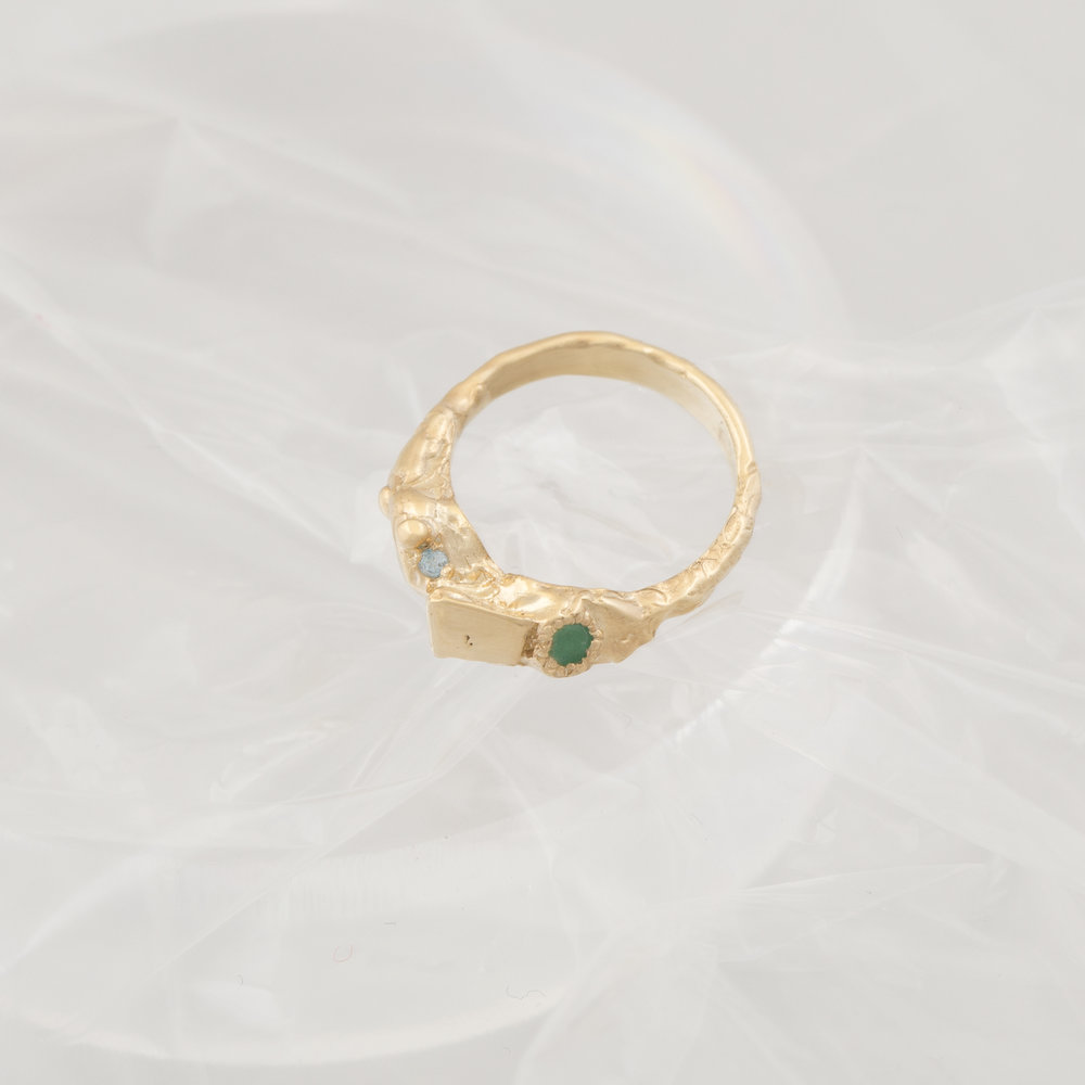 Nellie Ring | 18kt gold plated sterling silver with emerald, topaz and hidden blue Australian sapphire.