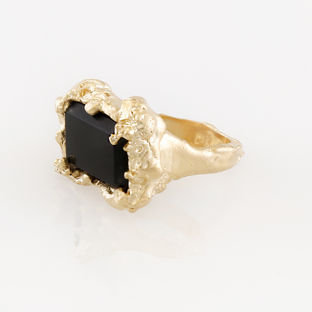 Apollo Ring | 18kt gold plated fine silver with black spinel.