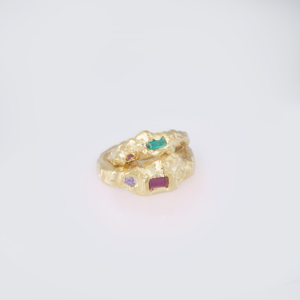 Stacked Rings | 18kt gold plated sterling silver rings with synthetic emerald, ruby and pink tourmaline.