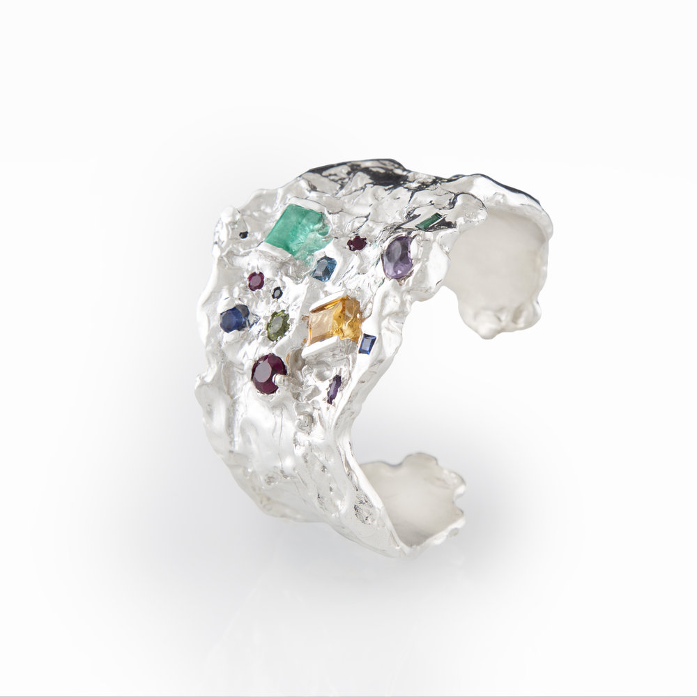 Cuff Dreams for Natalia | Sterling silver adorned with assorted semi-precious stones.