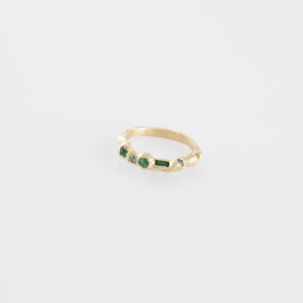 Freya Ring | Solid 18kt yellow gold with emerald and topaz.