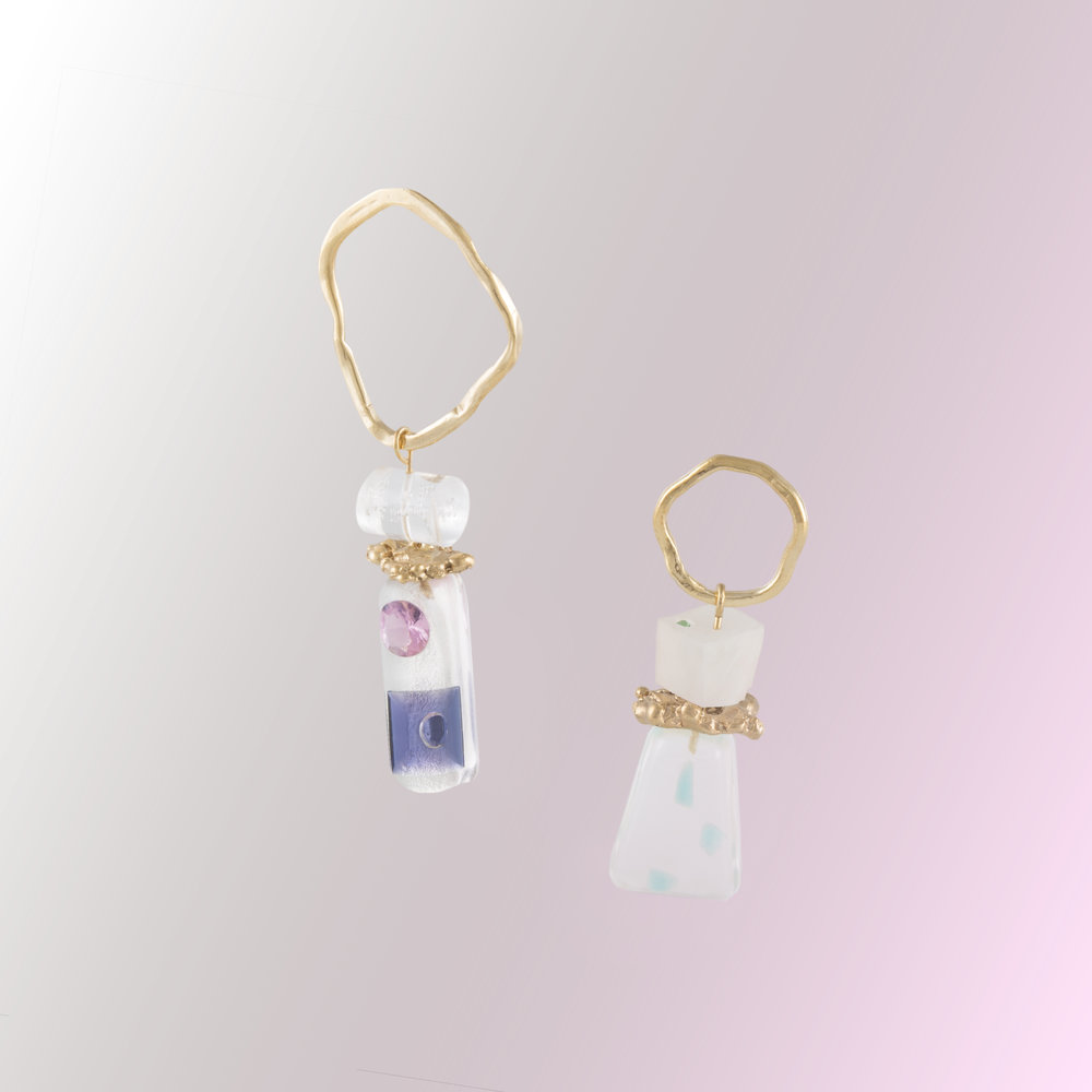 Assymetric Earrings For Alina | 18kt gold plated silver, resin and acrylic with semi-precious stones.