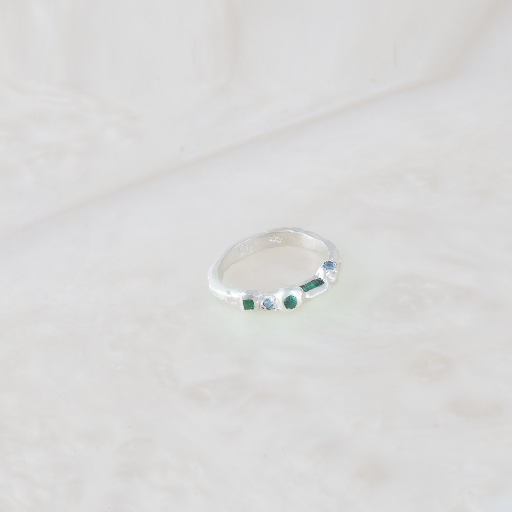 Ring for Davina | Sterling silver with natural emerald and topaz.