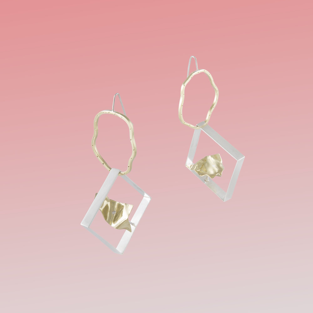 Squiggle-squares for Jasmine | Brass and sterling silver.