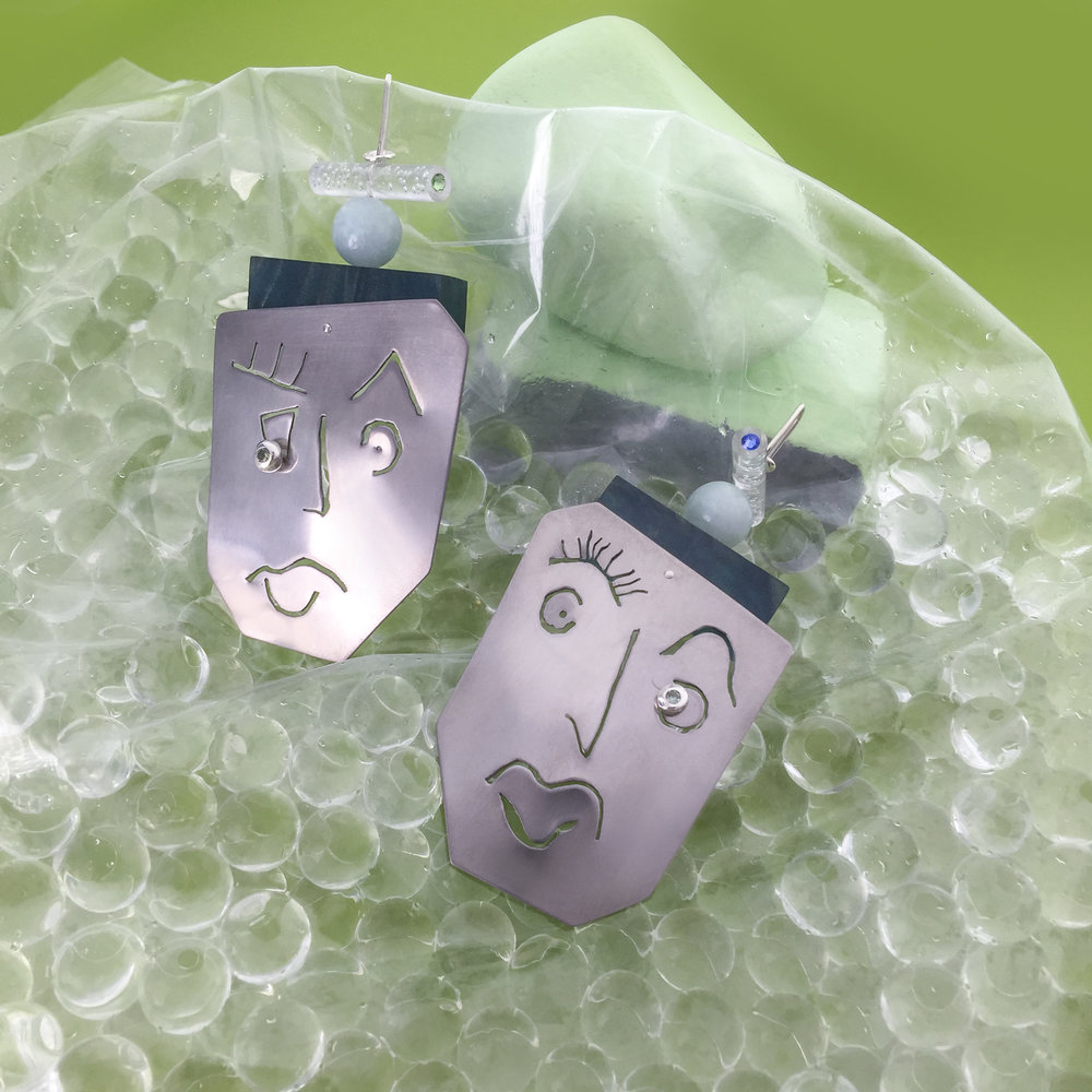 Face Earrings For Nina | Titanium, marblo, perspex, crystals.