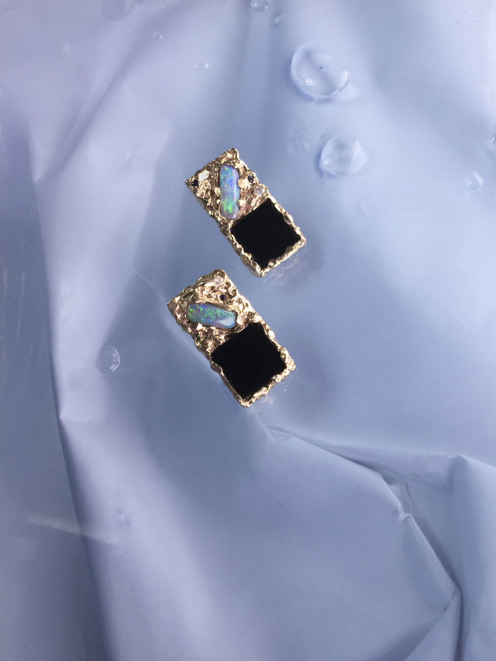 Zana Domino Earring | Onyx, opals and diamonds set in 9kt yellow gold.