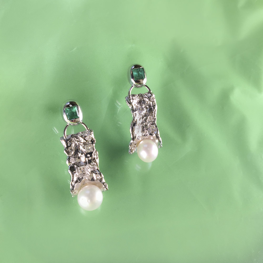 Natalia wavy pearls | Repurposed diamonds, emeralds and pearls in sterling silver.
