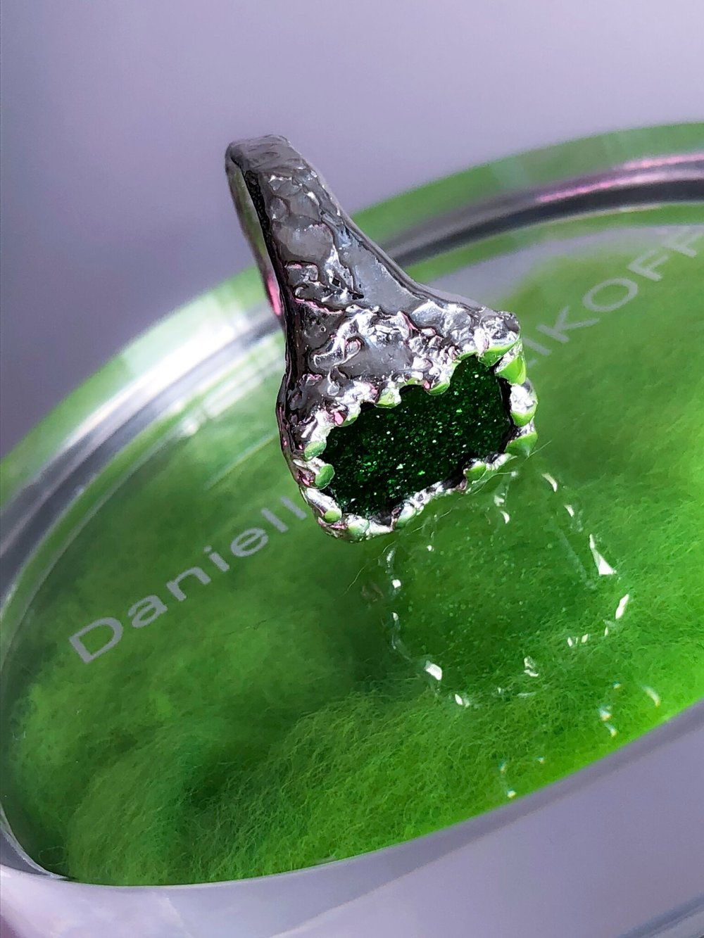 Tina Ring | Green goldstone engulfed in sterling silver.
