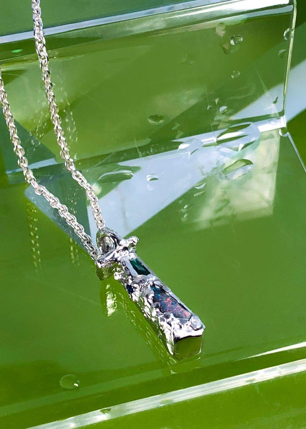Opal & Emerald Pillar Pendant For Adrienne | Sterling Silver.