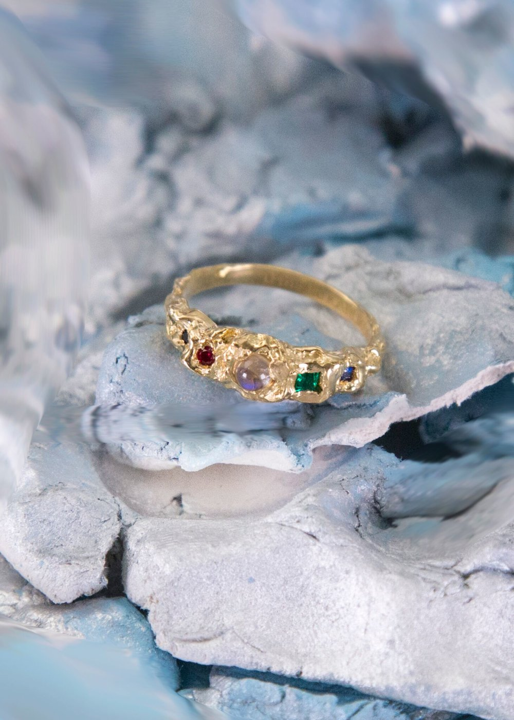 Magical Wizard Ring for Matt | 18kt yellow gold with moonstone, synthetic emerald, ruby and natural sapphires.