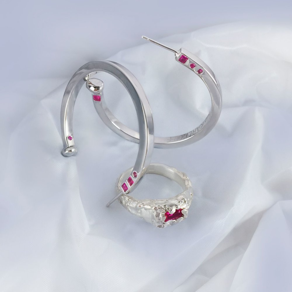 Anniversary Jewels Set | Rhodium Plated Sterling silver with synthetic rubies.