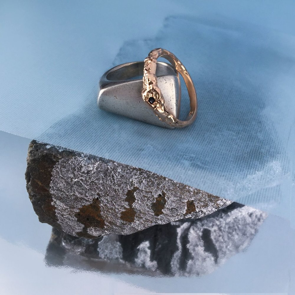 Julia Rose Gold Ring | 9kt rose gold with black sapphire. Made to match her grandma's sterling silver ring.