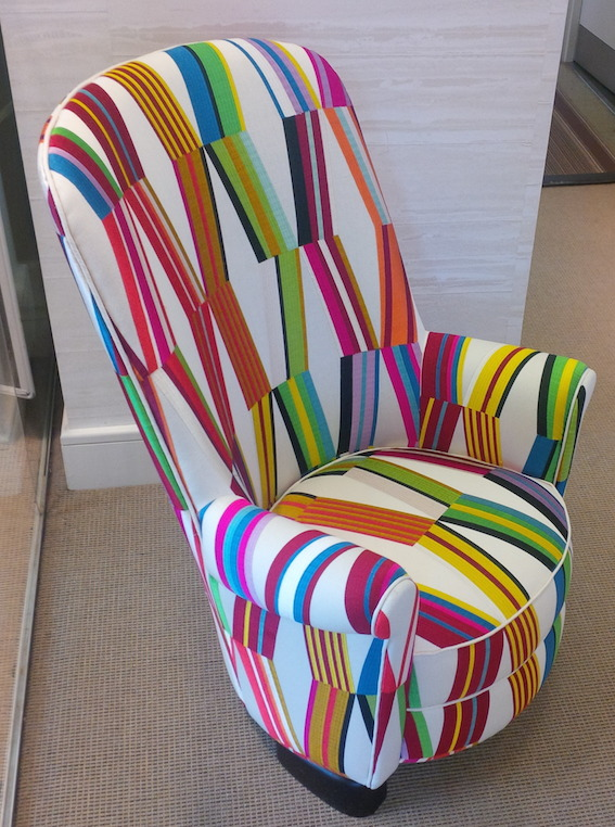 Shortly after the presentation, one of my client's and I visited the London showroom and were mesmerised by a Carriacou covered chair, it was so fun and fresh – this fabric cleverly pulls together a myriad of colours, like a kaleidoscope.