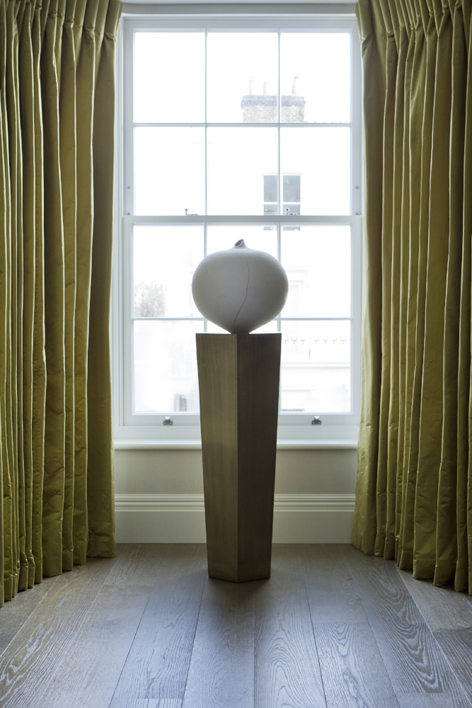 Crackle White Vase  paired with the  Walton  in our  South Kensington Townhouse