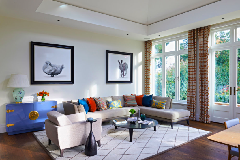 Family Home London designed by Rebecca Hughes Interiors featuring work by Lucy Boydell available from Cricket Fine Art.