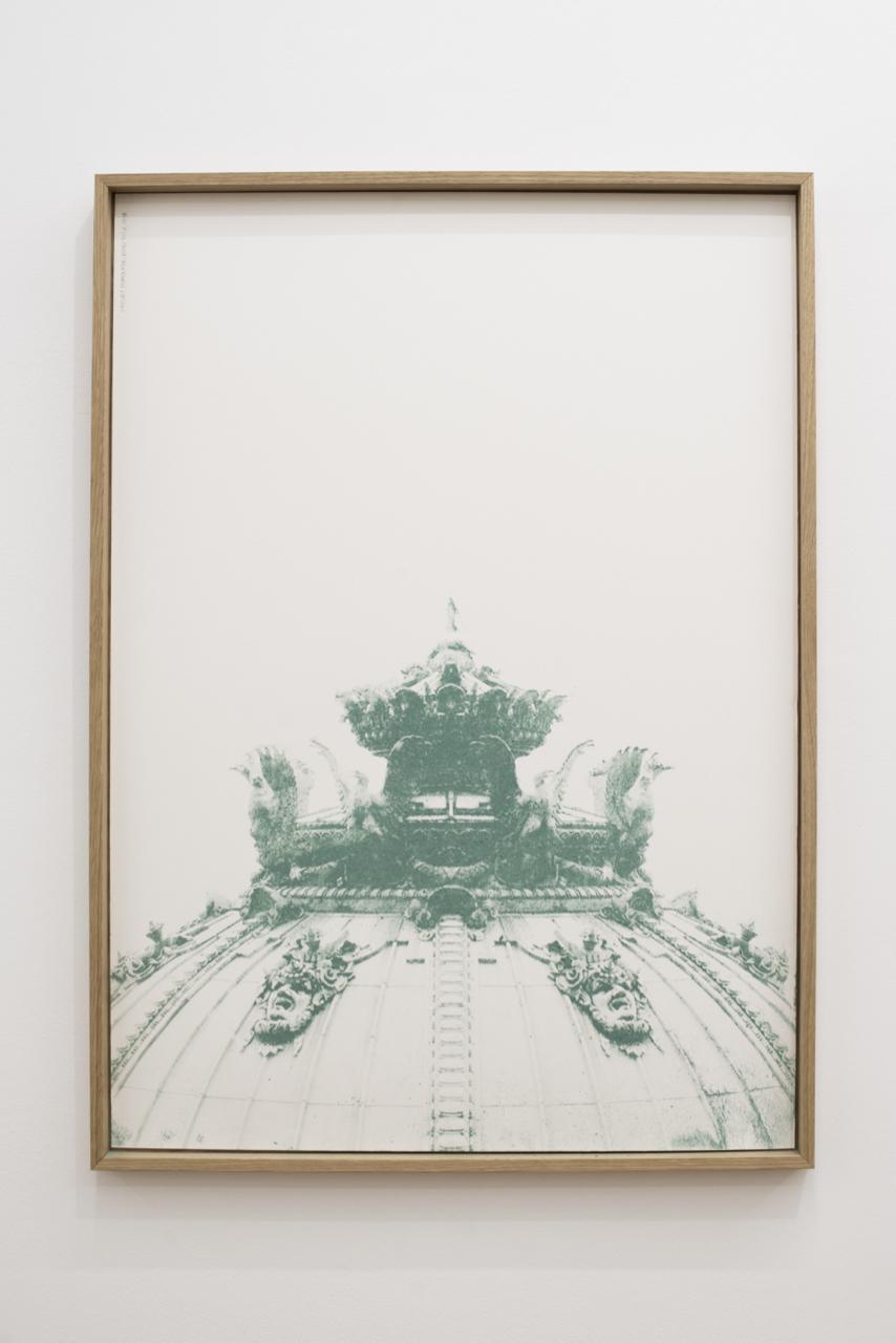 Jeanne Berbinau Aubry, Projet Topolyse T01-2, 2016. Sérigraphie au vert-de-grise, 70cm x 50cm