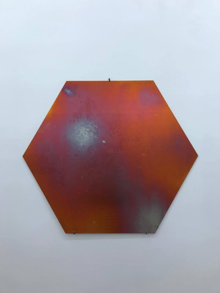 Caroline Corbasson, JWST (After the James Webb Space Telescope). Cuivre et laiton chauffé et oxydé, structures en acier. H.100 x h.100 x p. 14 cm