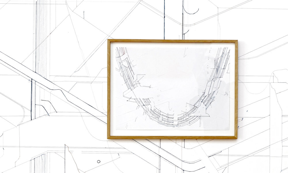Keita Mori, Bug Report (Catenary) #2, 2016. Fil de coton et fil de soie sur papier. 39 x 51,5 cm