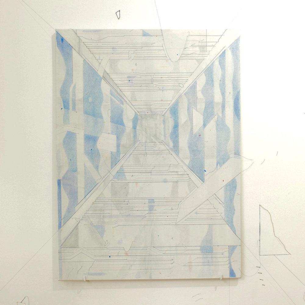 Keita Mori, Bug Report (Potemkim stairs), 2016. Fil de coton et fil de soie, acrylic, Caran d'Ache sur toile. 100 x 70 cm