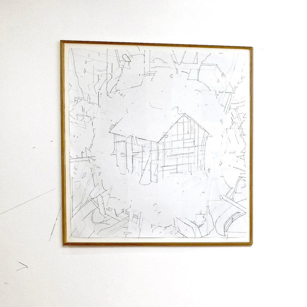 Keita Mori, Bug Report #5, 2015. Fil de coton et fil de soie sur papier. 84 x 84 cm