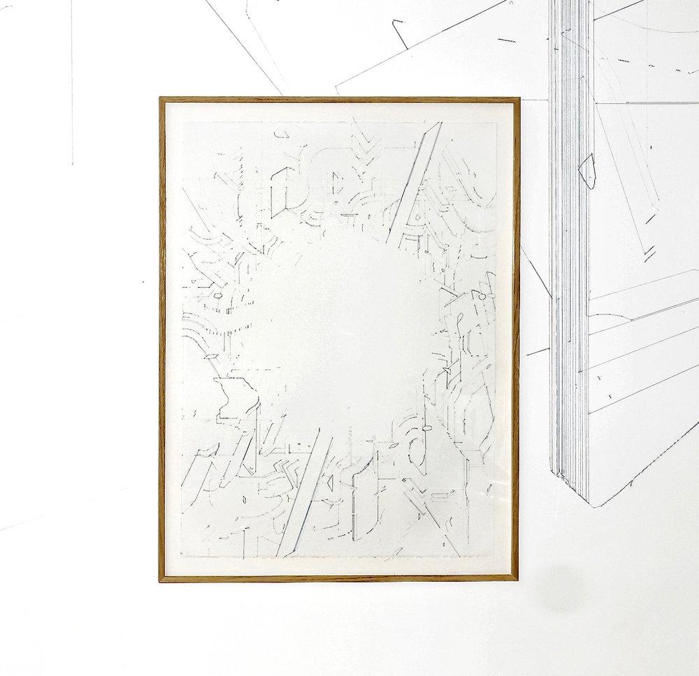 Keita Mori, Bug Report, 2016. Fil de coton et fil de soie sur papier. 76 x 56 cm