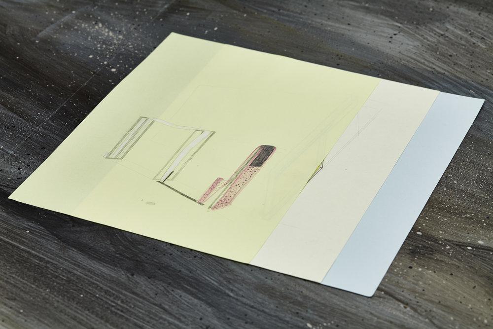 Victoire Barbot,  Misensemble et misenboîte , 2017. Crayons sur papier, 21 cm x 29,7 cm