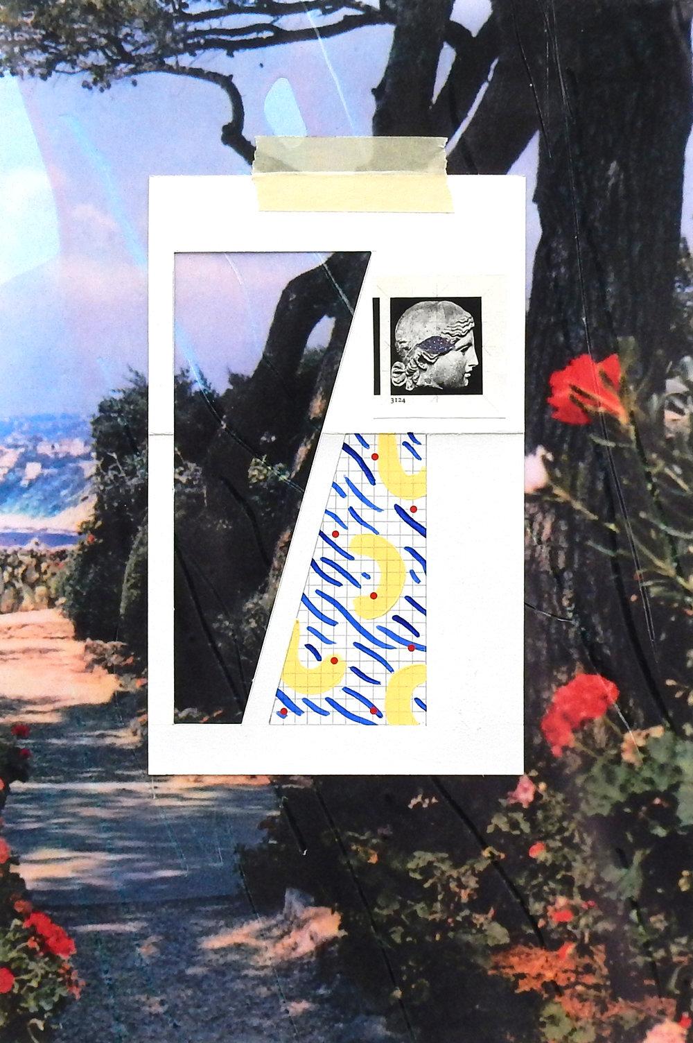 Coraline de Chiara,  Sur le motif , 2017. Collage, cire, graphite, acrylique, 42 cm x 28 cm