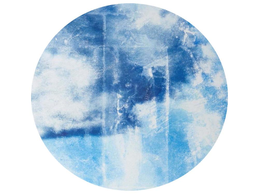 Côme Di Meglio,  Hiérophanie , 2017. Transfert sur plâtre, diamètre 75 cm