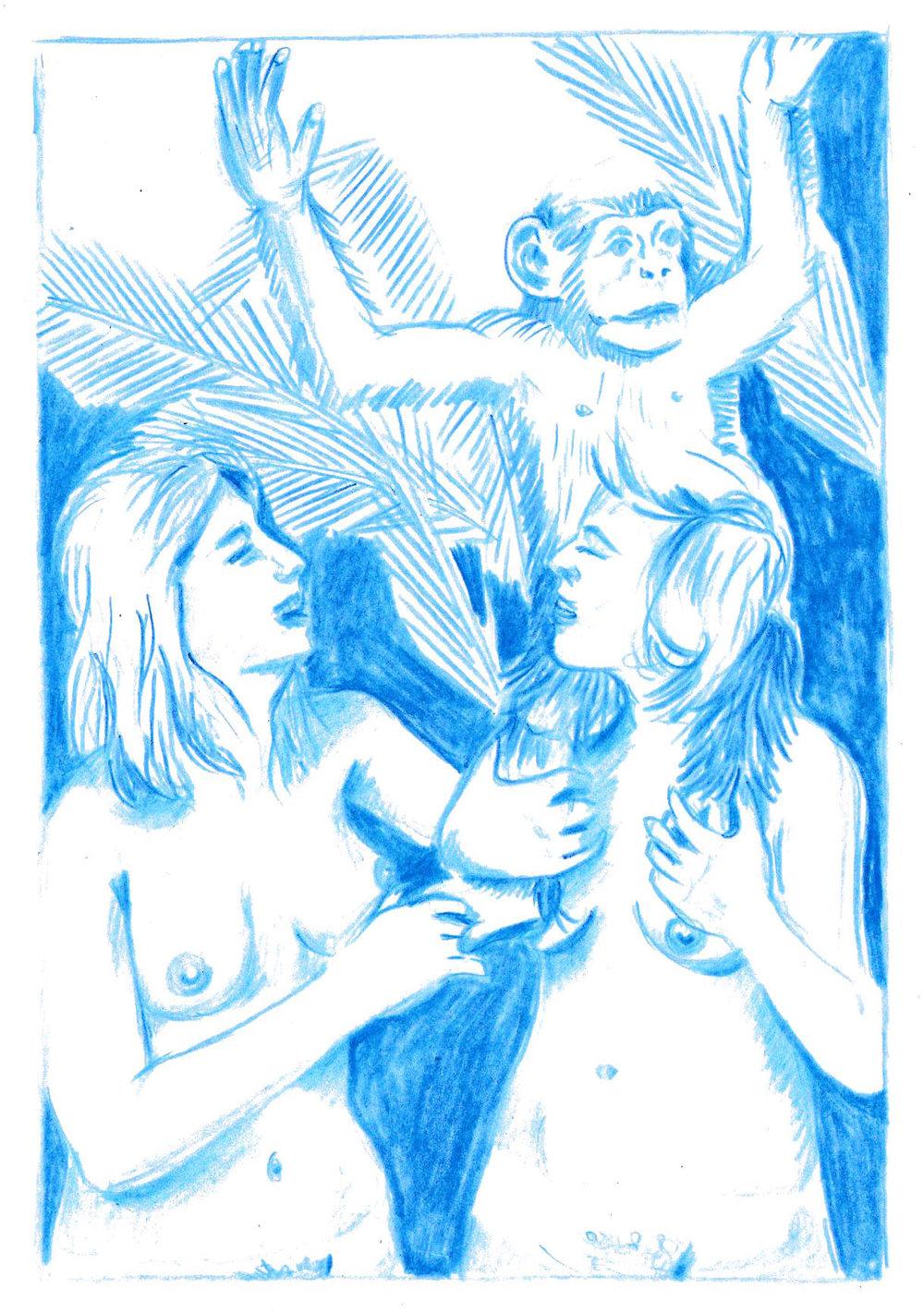 Olivier Millagou,  Anne-Sophie, Héléna et Mookie , 2017. Crayon sur carte postale, 10,5 cm x 14,8 cm